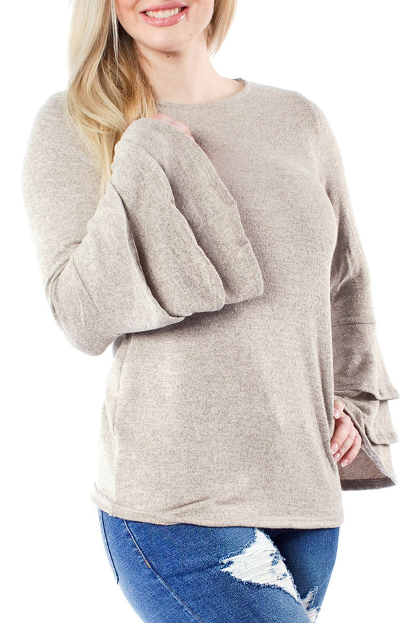 Taupe Trumpet Sleeve Sweater