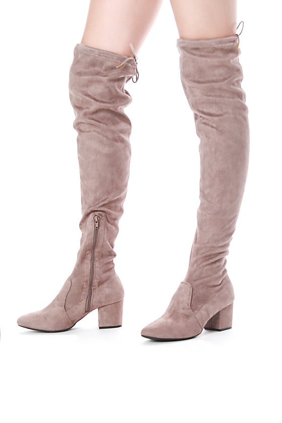 Thigh High Legging Boots (Taupe)