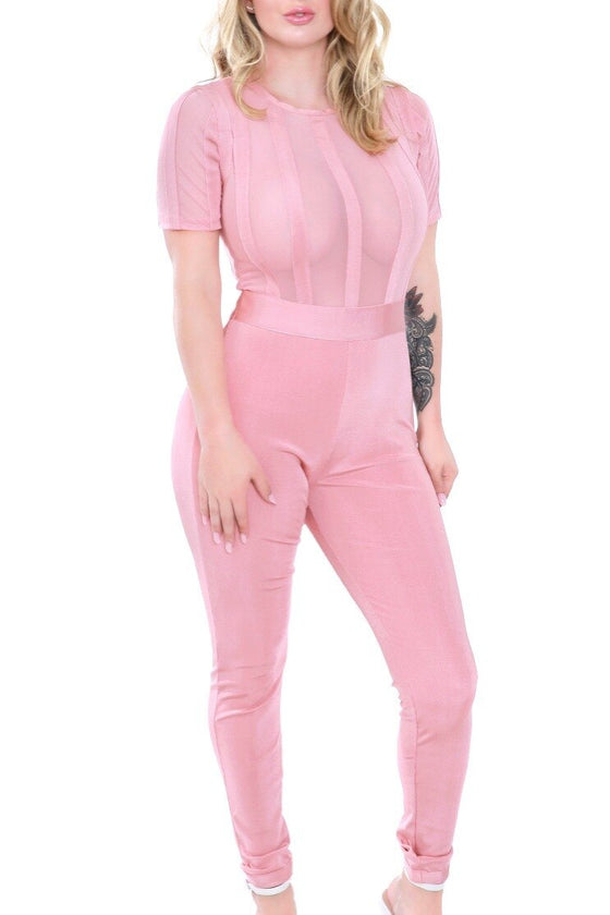 Pink Sheer Bandage Jumpsuit