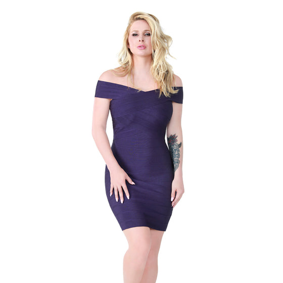 Purple Off-the-Shoulder Bandage Dress
