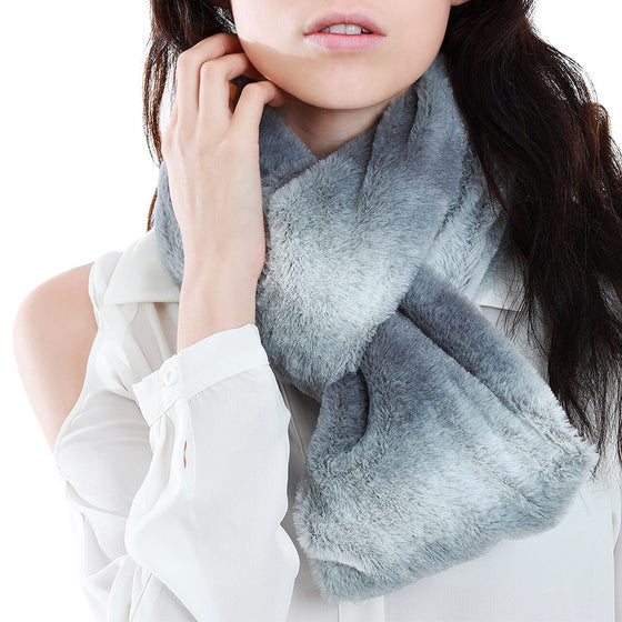 Gray Ombre Fur Infinity Scarf