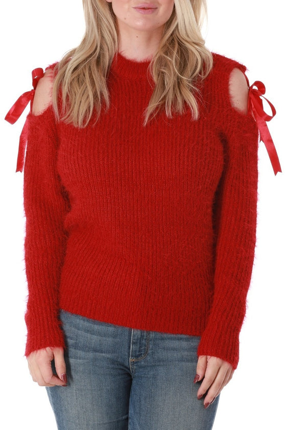 Fuzzy Red Cold Shoulder Sweater