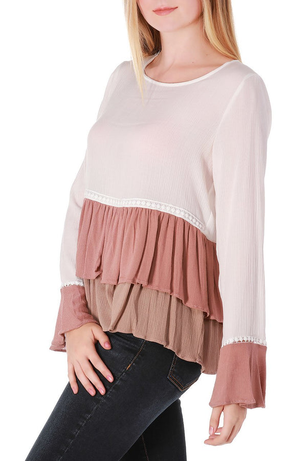 Ivory Tiered Ruffle Bell Sleeve Top