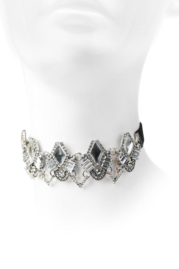 Silver Triangle Cut Crystal Choker