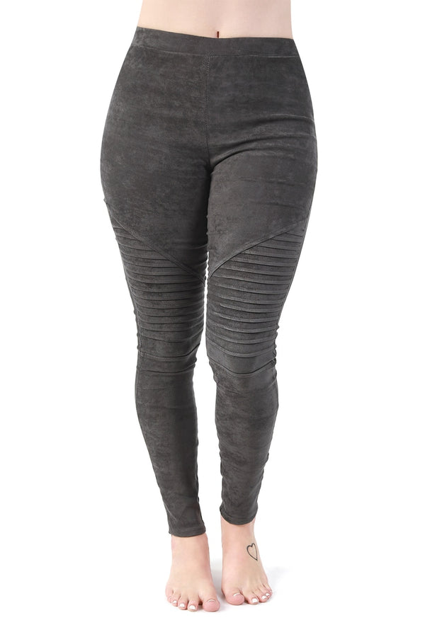 Gray Ribbed Suede Leggings