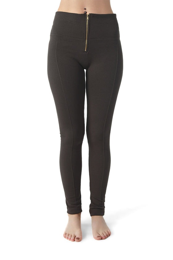 Gray Mid-Rise Zip Up Leggings