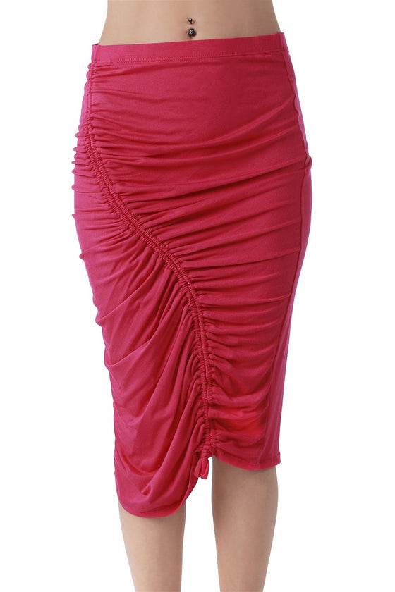 Pink Ruched Pencil Skirt