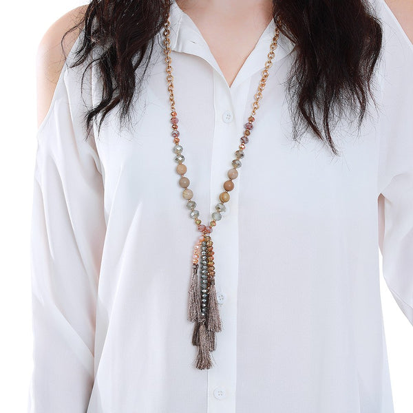 Rose Gold Stone Tassel Necklace
