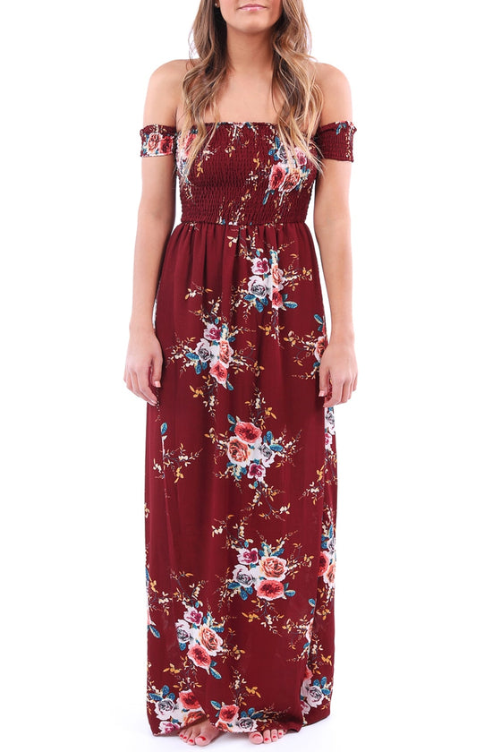 Burgundy Off-the-Shoulder Floral Maxi Dress