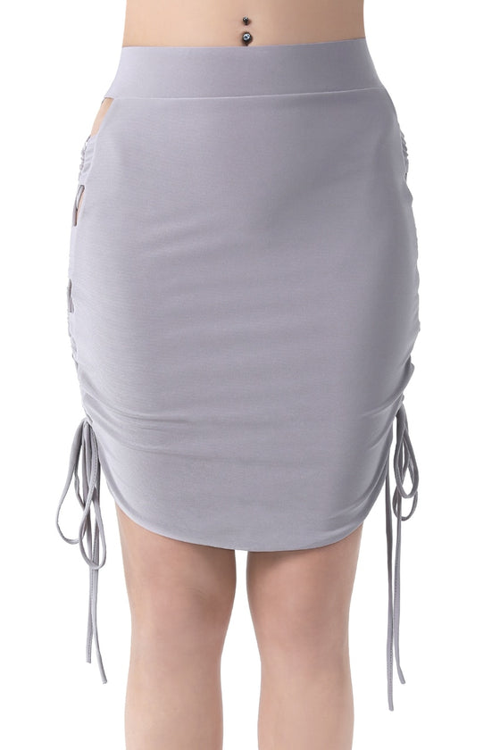 Gray Criss-Cross Lace-Up Mini Skirt