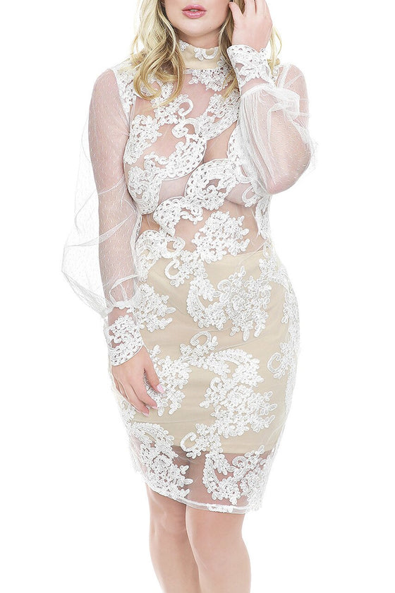 White Sheer Lace High Neck Dress