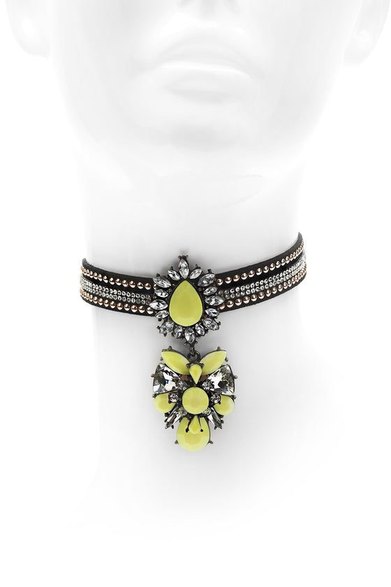 Yellow Choker Pendant Necklace