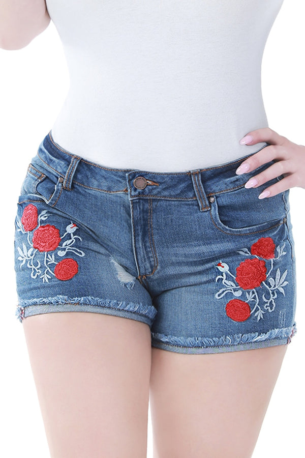 Floral Patch Denim Shorts