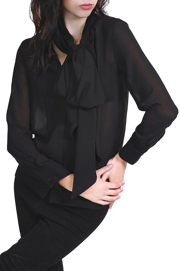 Black Sheer Bow Blouse
