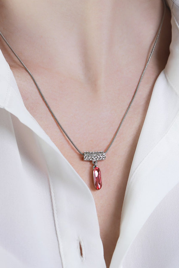 Pink Glass Pendant Necklace