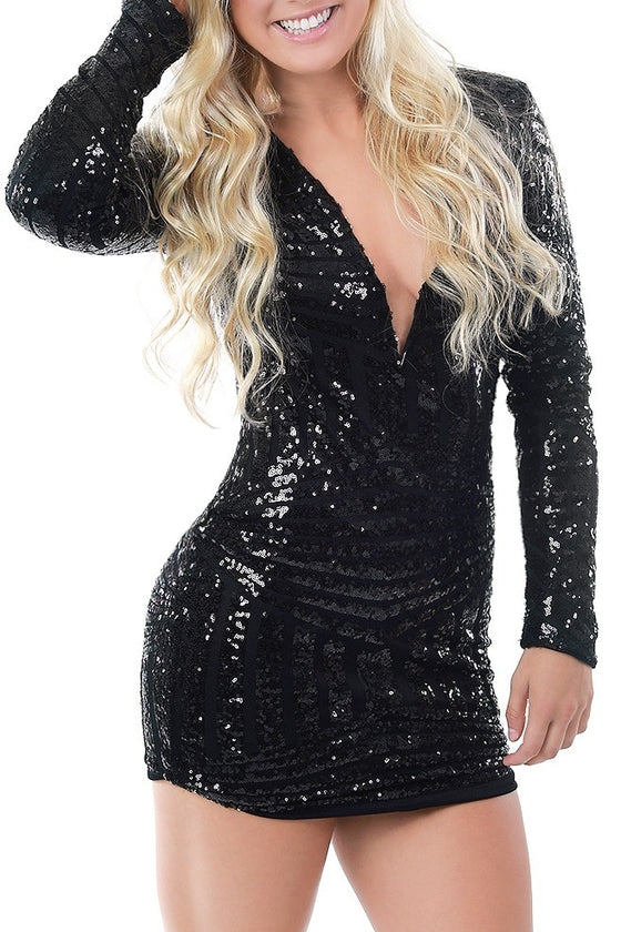 Black Sequin Bodycon Dress