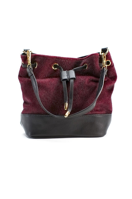 Burgundy Mini Bucket Purse