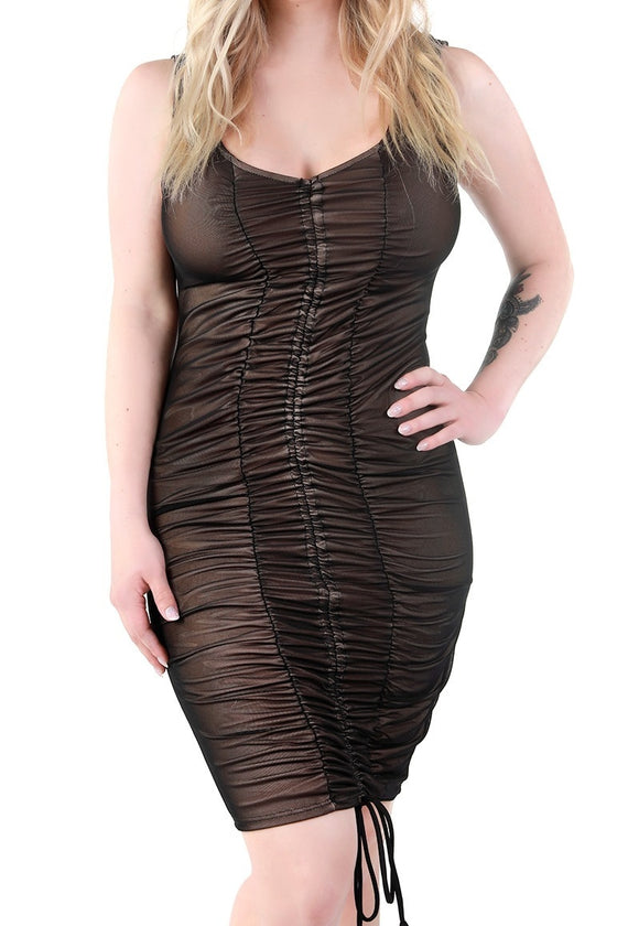 Black Sheer Ruched Dress