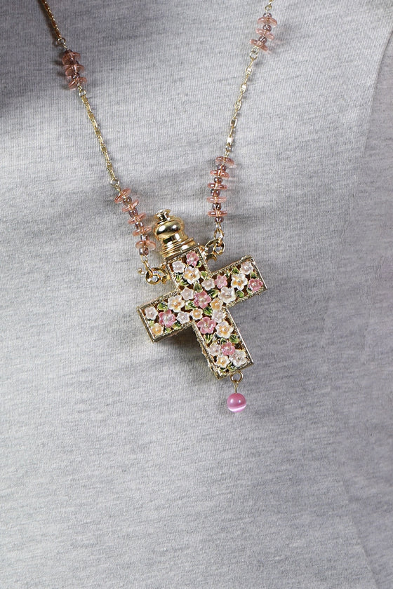 Floral Cross Essential Oil Necklace