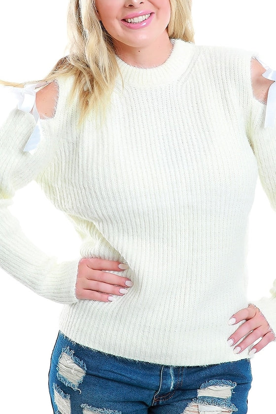 Fuzzy White Cold Shoulder Sweater