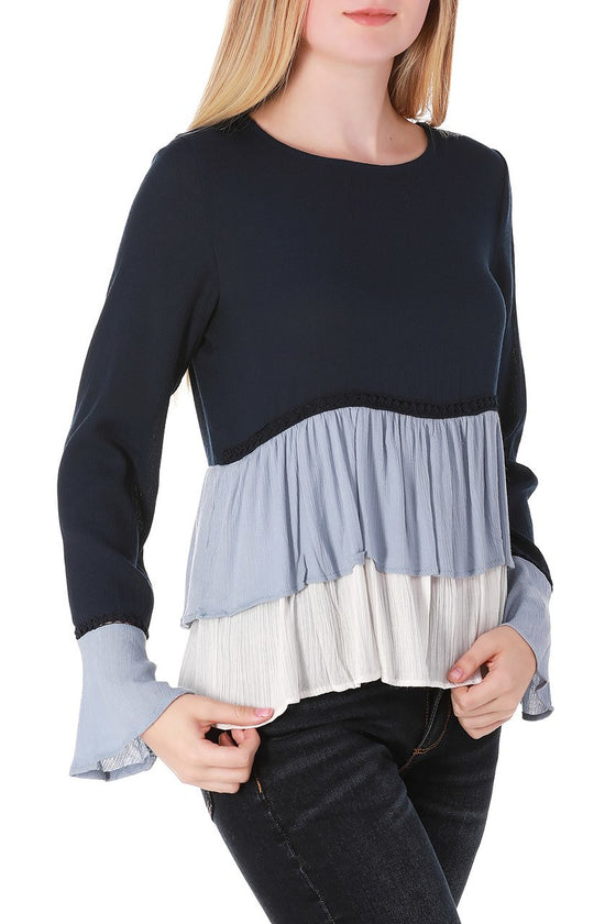 Blue Tiered Ruffle Bell Sleeve Top