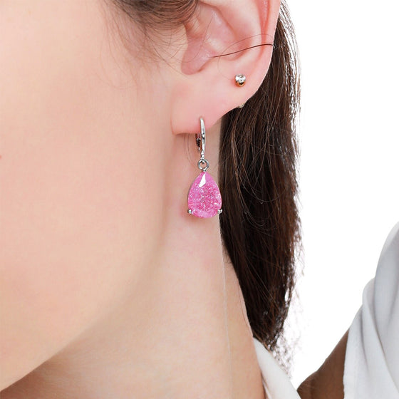 Pink Teardrop Crystal Earrings