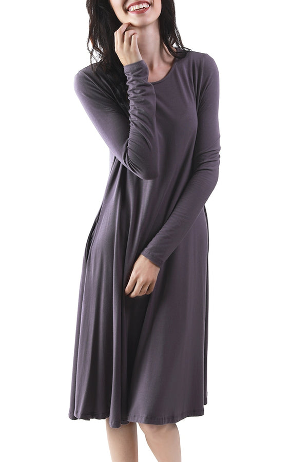 Purple Classic Long Sleeve Dress