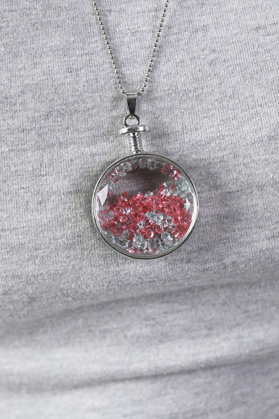 Pink Circle Vial Necklace