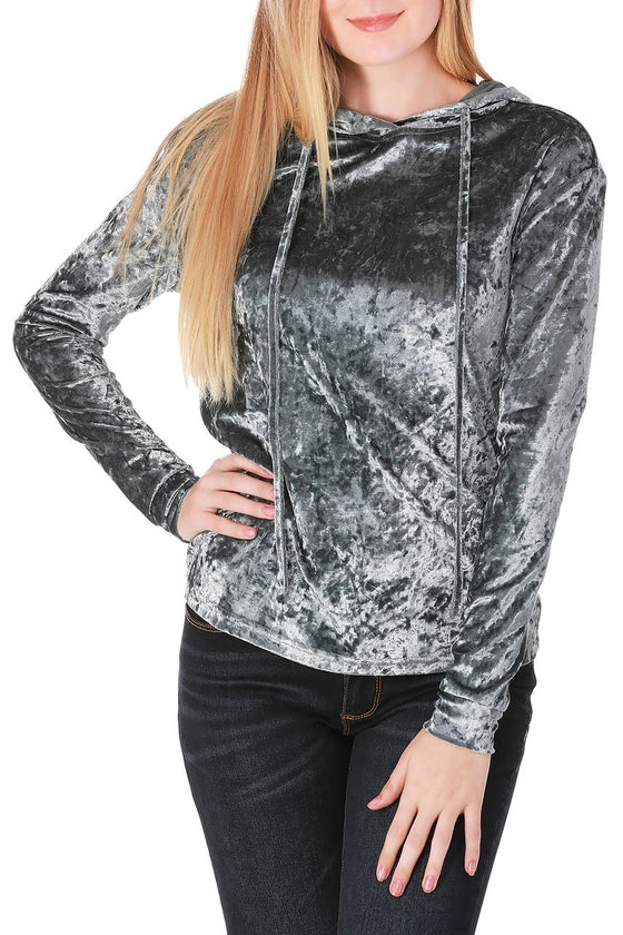 Blue Gray Crushed Velvet Drawstring Hoodie