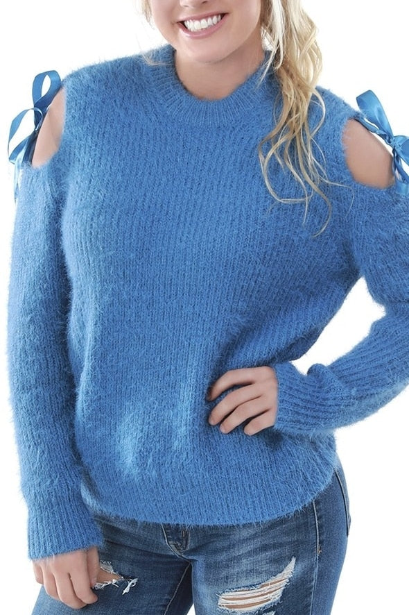 Fuzzy Blue Cold Shoulder Sweater