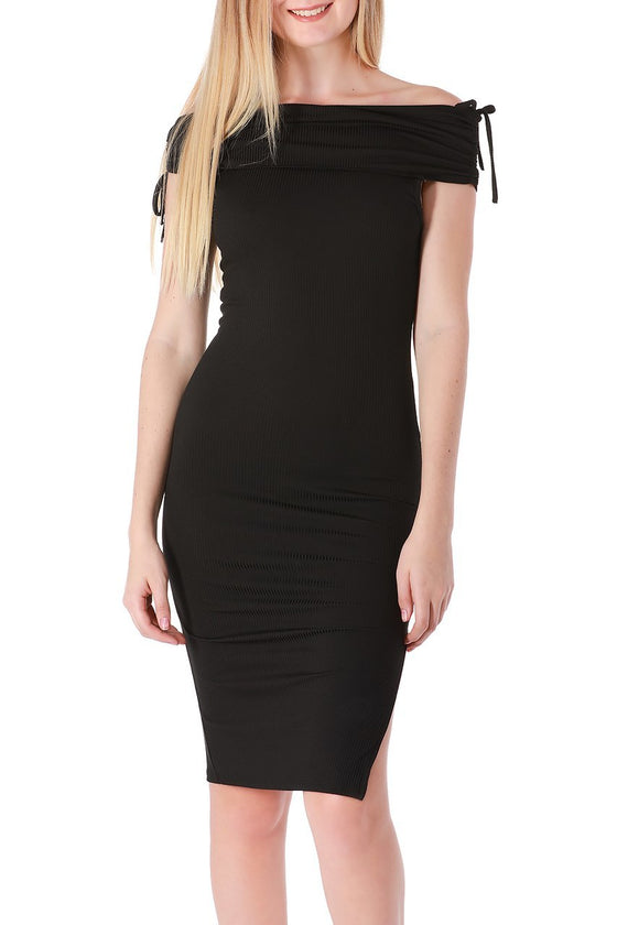 Black Off-the-Shoulder Midi Dress