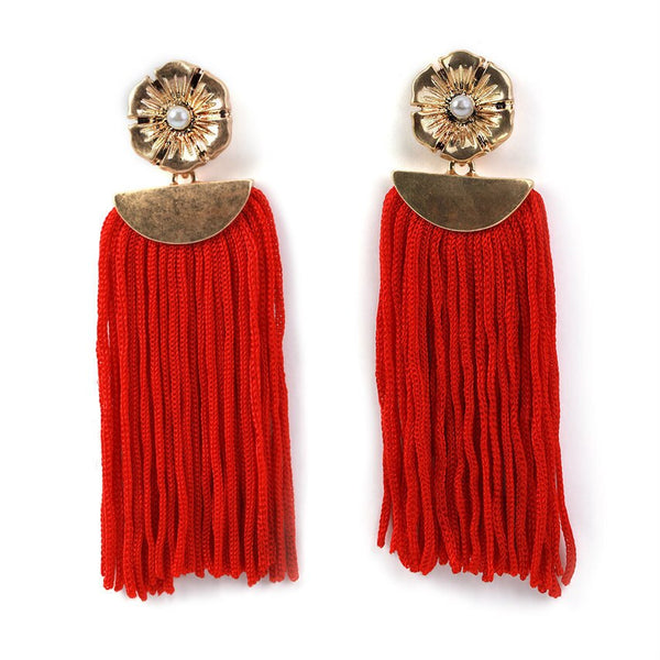 Red Flower Tassel Earrings