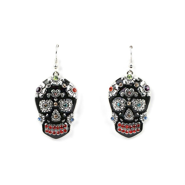 Black Sugar Skull Earrings