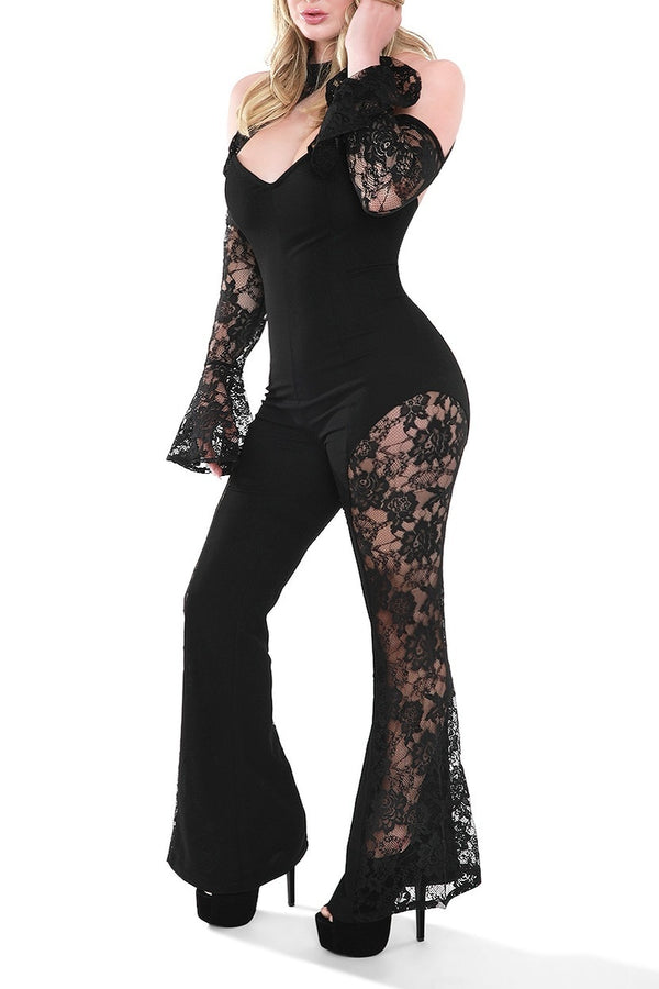 Black Lace Open Shoulder Jumpsuit