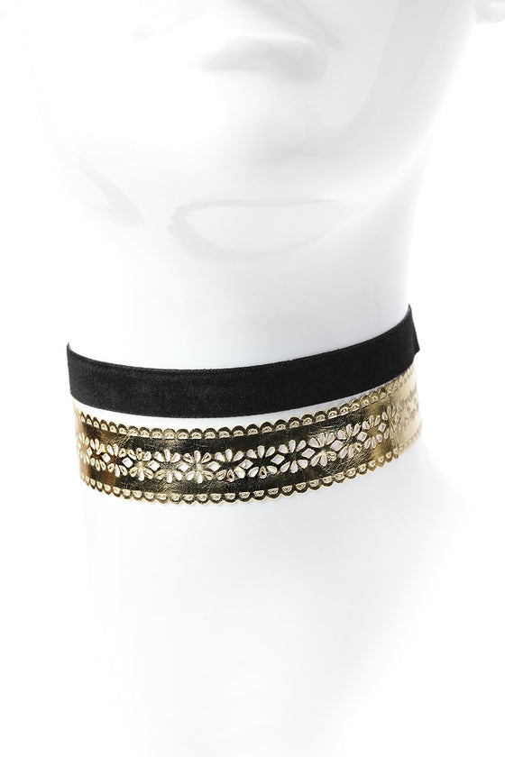 Gold Lace & Band Choker Set