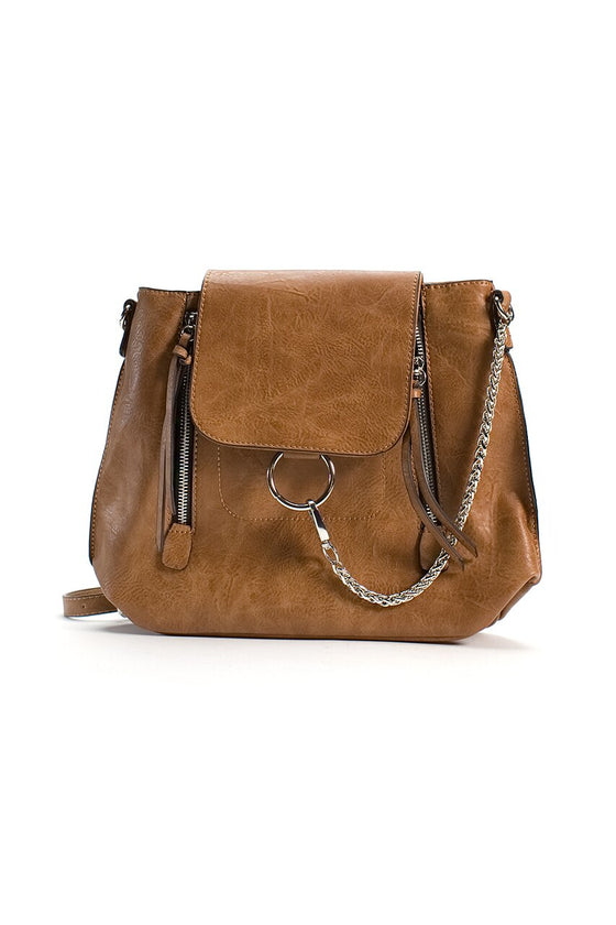 Brown Vegan Leather Convertible Backpack