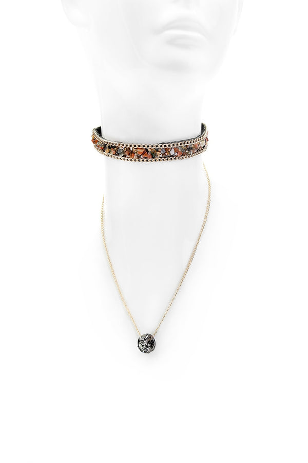Gold Stone Double Choker