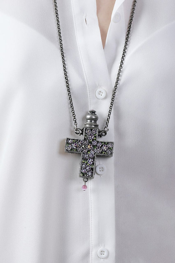 Purple Cross Essential Oil Necklace