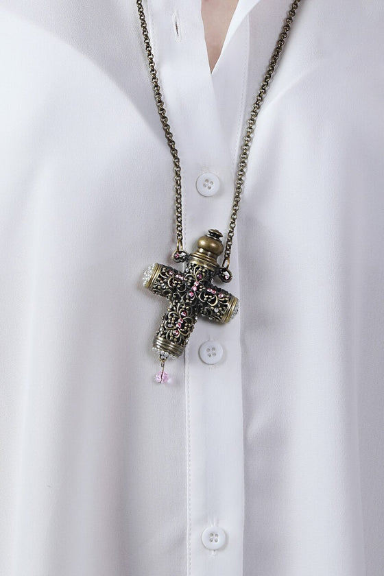 Pink Cross Essential Oil Necklace