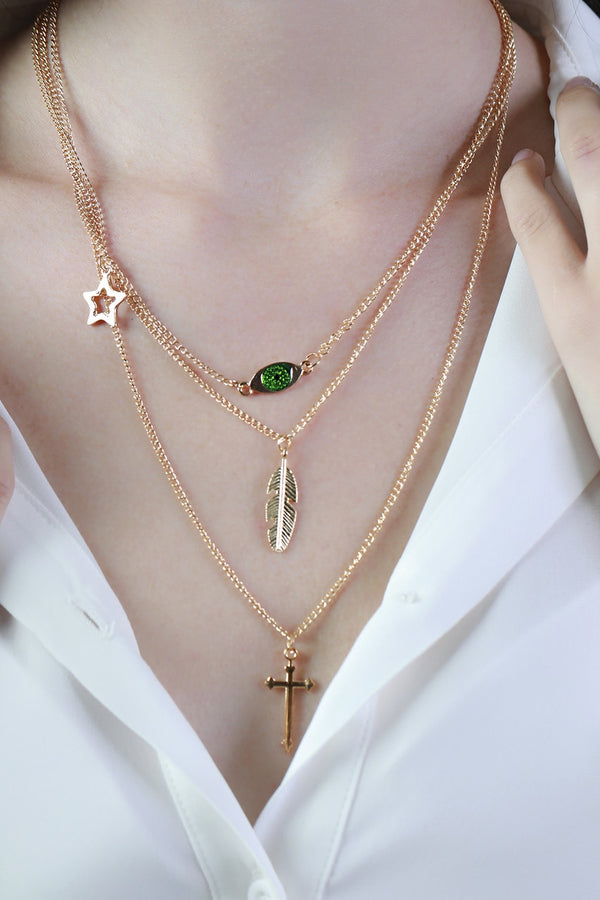 Layered Cross & Feather Necklace