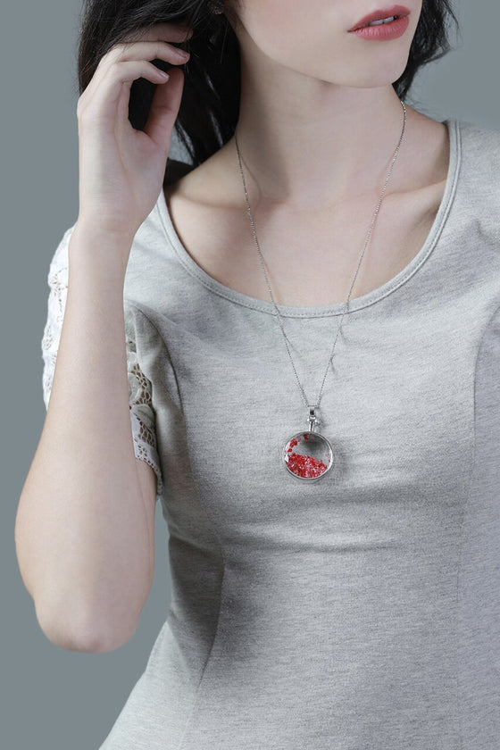 Pink & Red Circle Vial Necklace