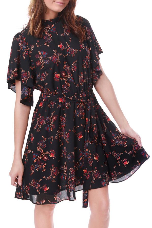 Black Floral Tie Dress