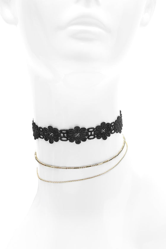 Black Floral Choker Set