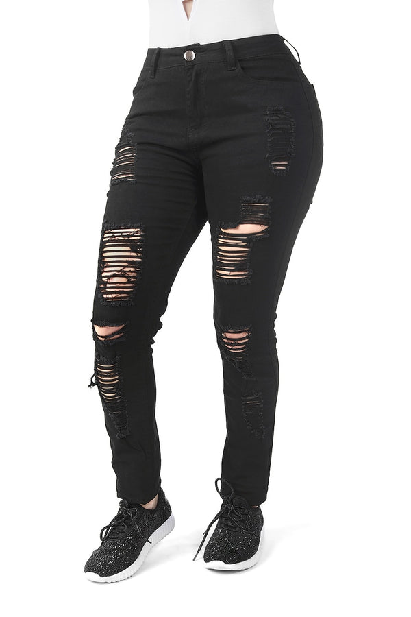 Destroyed Black Skinny Jeans