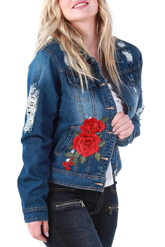 Denim & Roses Distressed Jacket