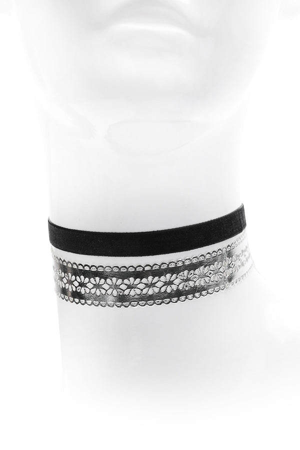 Silver Lace & Band Choker Set