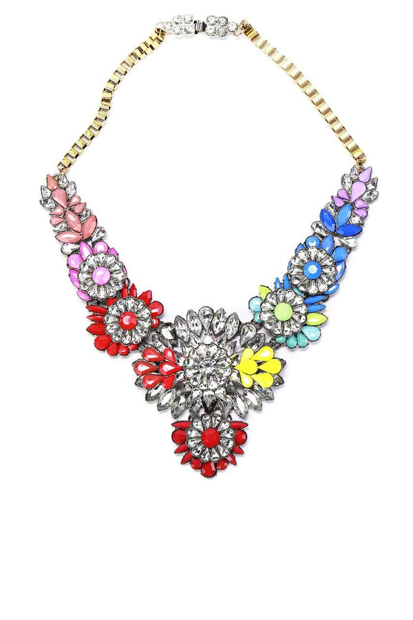 Rainbow Petal Statement Necklace