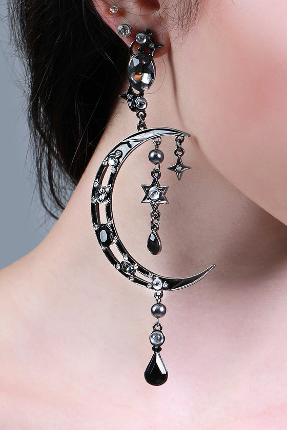 Black Crescent Moon Earrings