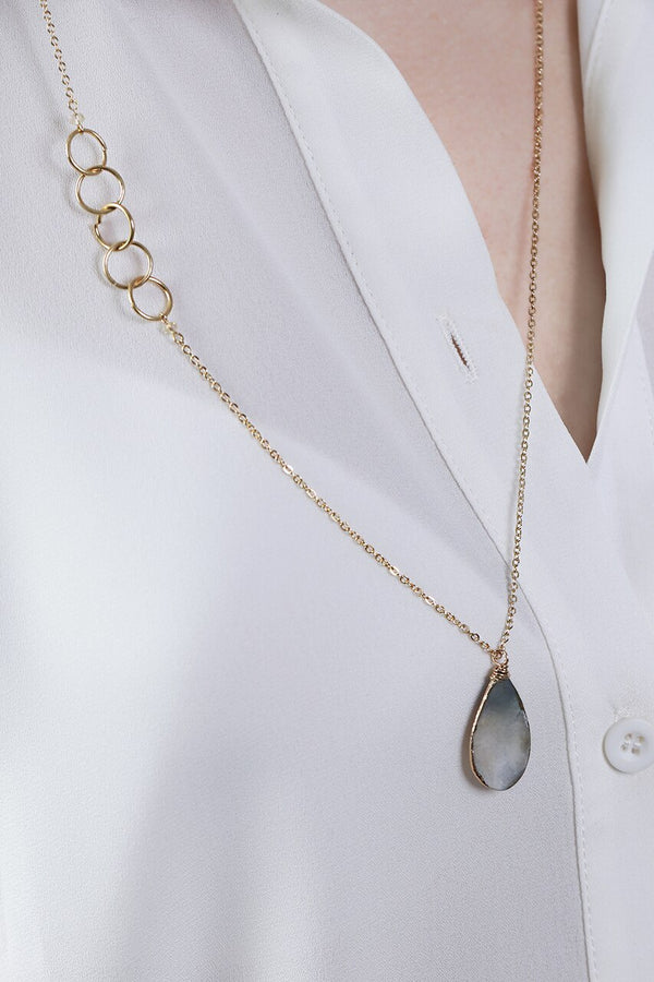 Gray Mother of Pearl Teardrop Necklace