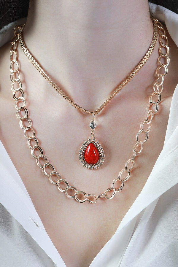 Red Teardrop Stone Layered Necklace